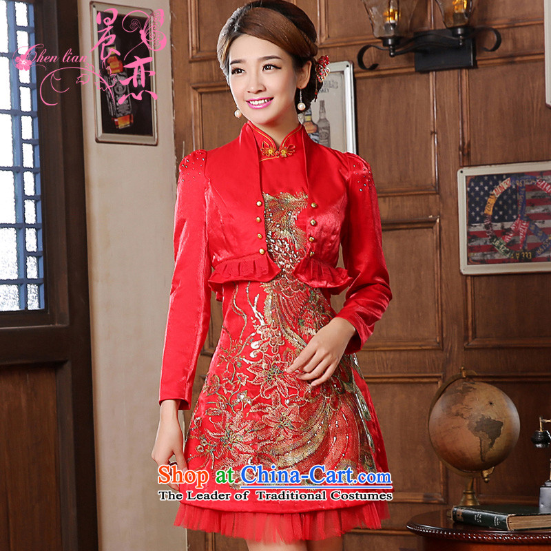 Special offers the new 2014 E-mail package short of marriage retro winter is long qipao two kits bridal dresses bows services red red L