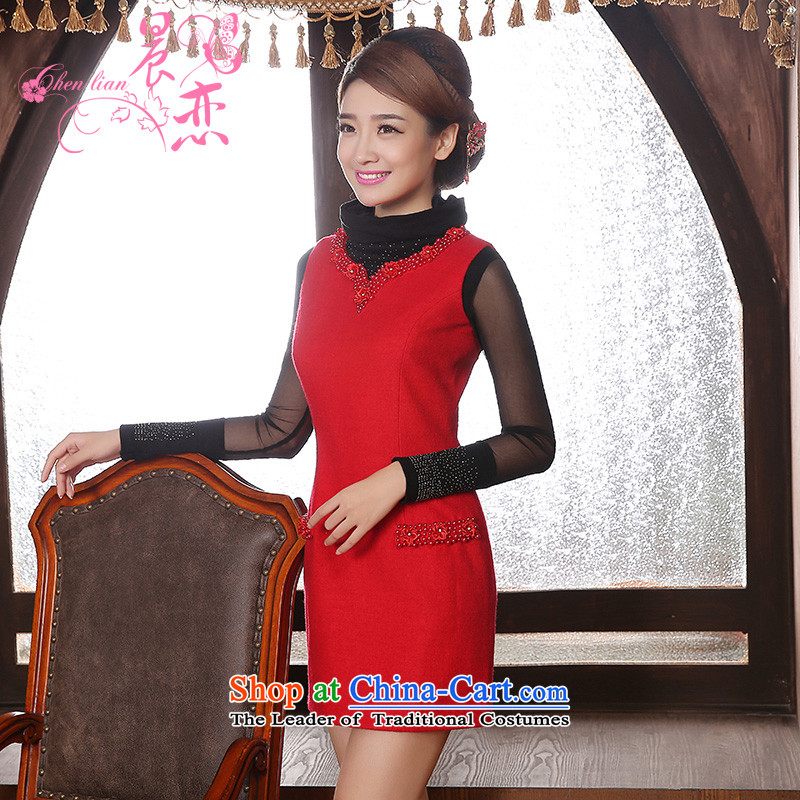 Land 2014 New Morning cheongsam dress short of marriage wool red retro improved bride? bows to vest skirt red?L