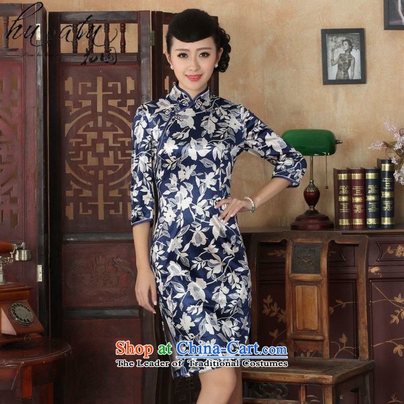 Figure autumn flowers with Tang Women's clothes qipao new collar Chinese improved national Kim scouring pads qipao skirt seven Sau San cuff�-S