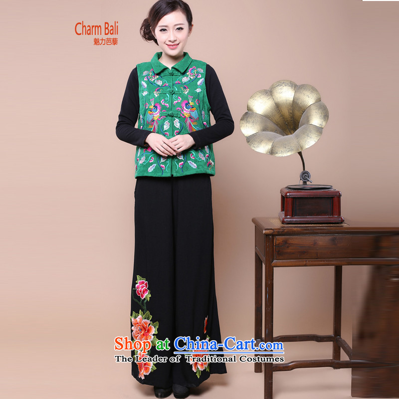 Charm and Asia 2015 Fall/Winter Collections cotton jacquard embroidery, a Tang Dynasty trousers in Mother Women older two sets of replacing can sell green kit?M