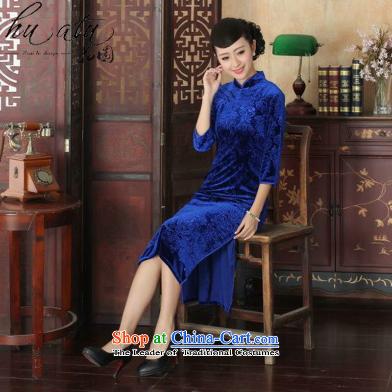Figure autumn flowers with Tang Women's clothes cheongsam collar Chinese pure color Noble Lady Stretch Wool cheongsam dress really 7 Cuff figure聽L