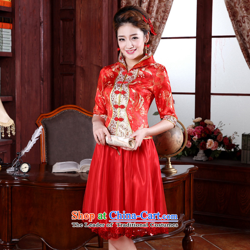 The privilege of serving-leung 2015 new autumn and winter red bride replacing wedding dress long-sleeved clothing qipao back door bows. Dress Short-sleeved�L