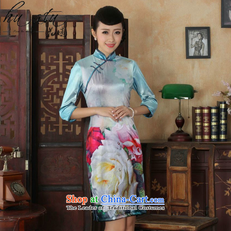 It fall inside the new Tang Women's clothes qipao ethnic collar Stretch Wool cheongsam dress Kim Sau San 7 Cuff figure聽S
