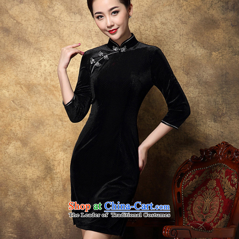Progress toward the?2014 autumn and winter Ritz new women's high sense of Tang Dynasty Chinese style qipao black M improvement