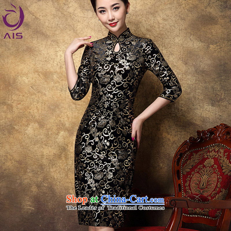 Progress toward the?2014 autumn and winter Ritz new women's high sense of style qipao Korea scouring pads mother changed in long black XXXL qipao.