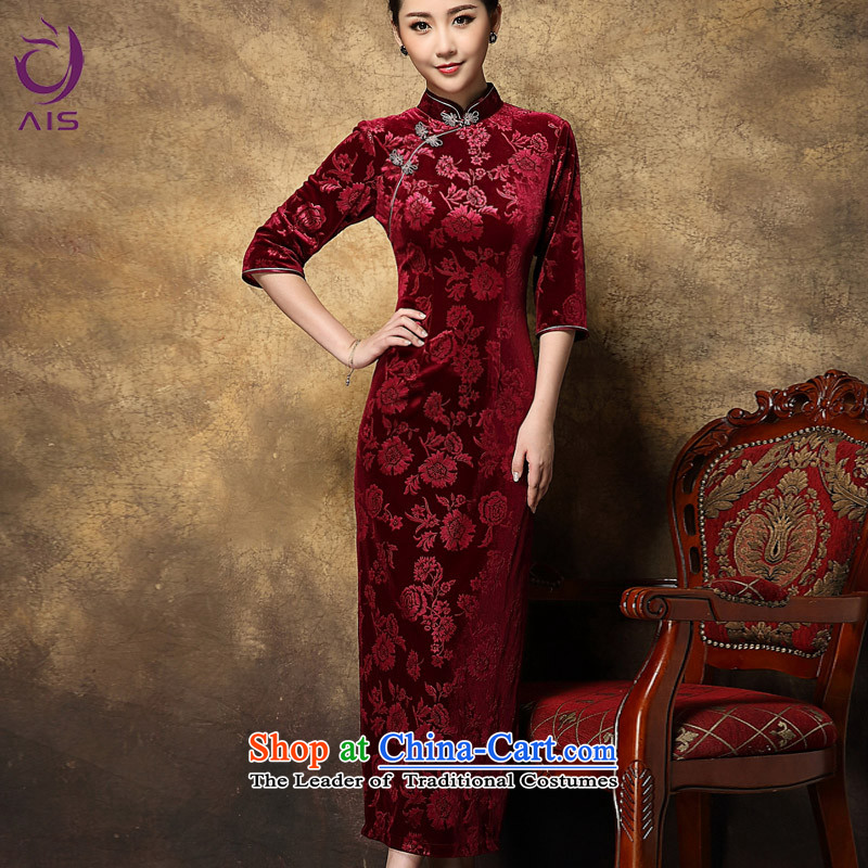 Progress toward the?2014 autumn and winter Ritz Chinese girl who will dinner decorated Wedding Tang dynasty improved Stylish retro dresses scouring pads long QIPAO) rose,?XXL too big