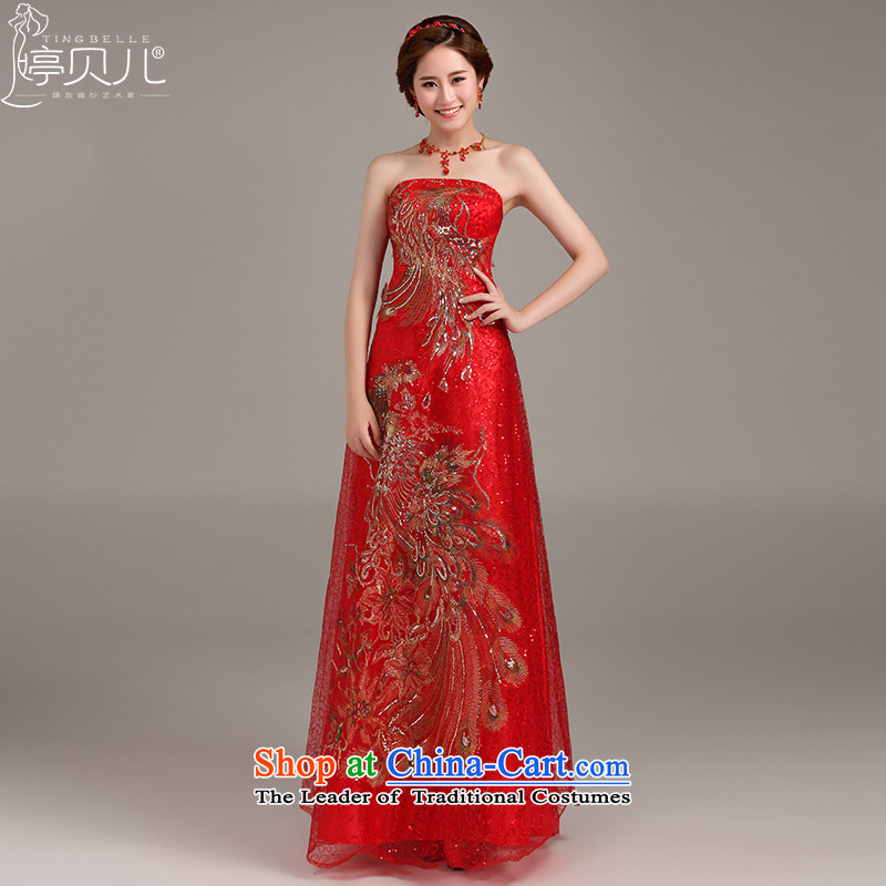 Beverly Ting 2015 new spring and summer gown long Korean modern marriage bows services banquet evening dresses moderator dress Sau San Red燲XL