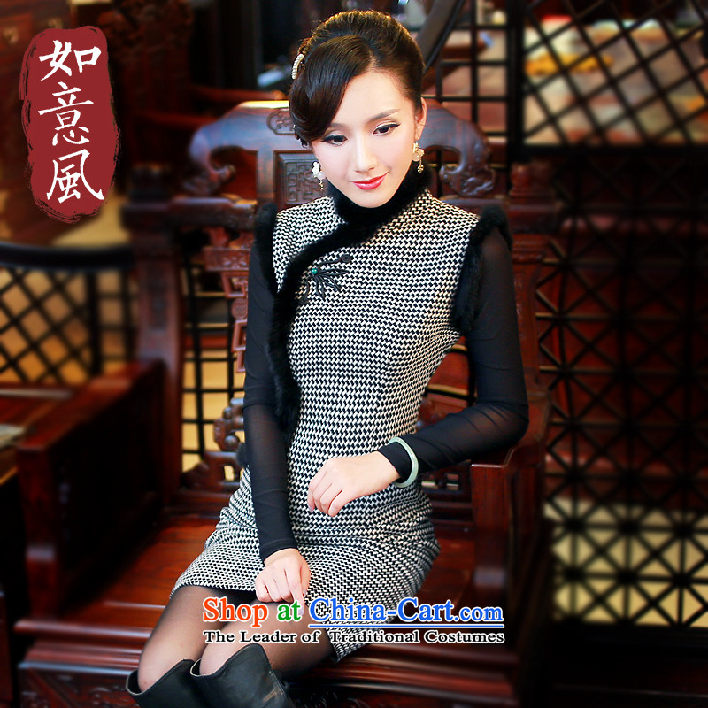 After the 2014 Fall_Winter Collections in the new improved latticed temperament wool retro hair? For cheongsam dress 4810 beige L