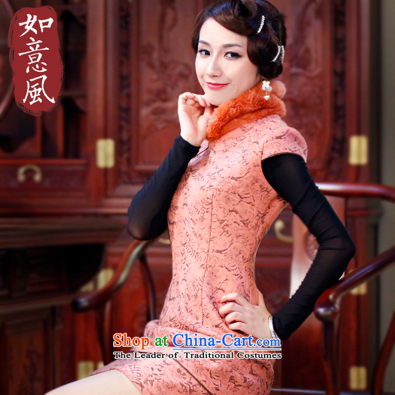 After a day of wind?new women's 2015 autumn and winter qipao Stylish retro warm qipao improved skirt 305.4 305.4 orange?M