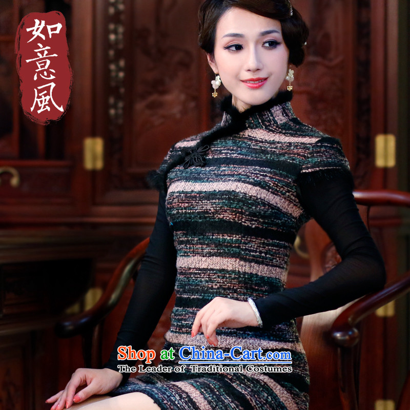 After a new wind autumn and winter cheongsam warm wool? short-sleeved retro improved streaks cheongsam dress 4821st toner streaks 4821ST燤