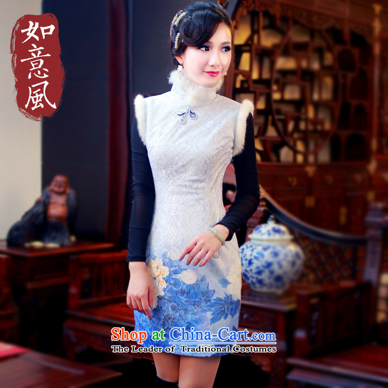 After the�2014 winter wind new cheongsam style stamp folder gross cotton improved cheongsam dress48124812 Blue�XXL