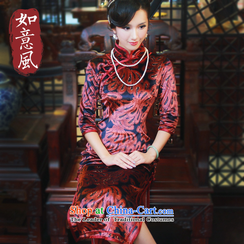After?2014 the new wind in the autumn and winter sleeve length stylish mother improved cheongsam dress 4817th 4817th red?S
