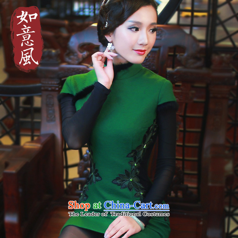 The autumn and winter wind after a new stylish cheongsam dress thick hair high-end for warm improved cheongsam dress 4814th 4814th green?M