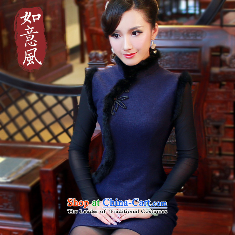 After a new wind autumn and winter and stylish high-end cheongsam dress for the improvement of solid color hair short of qipao dresses 4808 4808 Blue燬