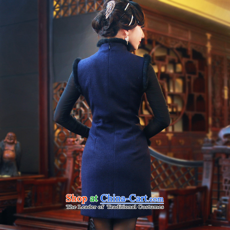 After a new wind autumn and winter and stylish high-end cheongsam dress for the improvement of solid color hair short of qipao dresses 4808 4808聽S, after the wind has been pressed blue shopping on the Internet