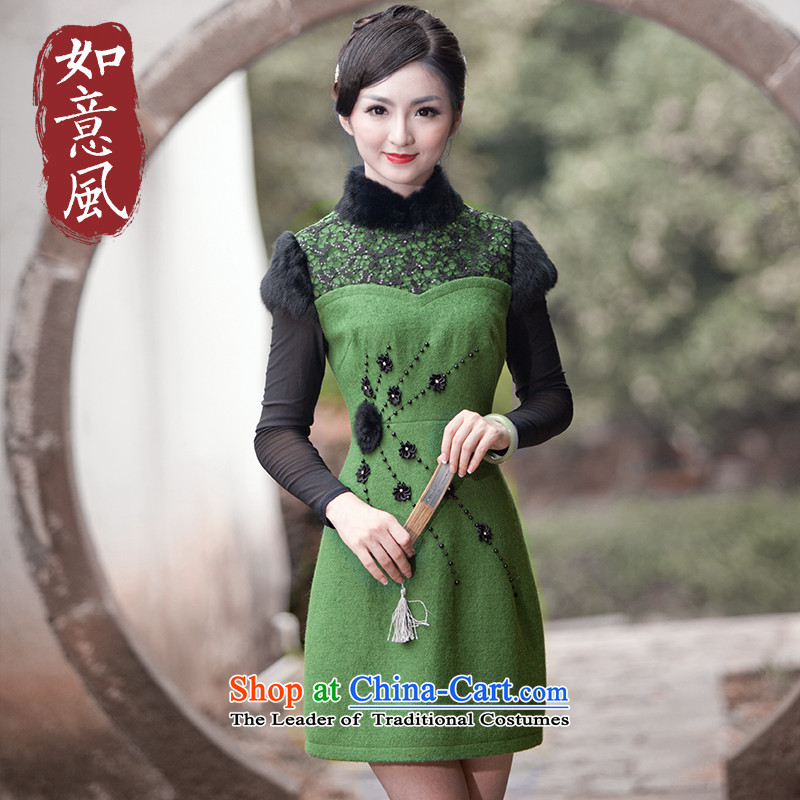 After a short period of improvement of nostalgia for the wind autumn and winter female stylish qipao Sau San daily gross for 4,902 4,902 skirt qipao dark green聽M