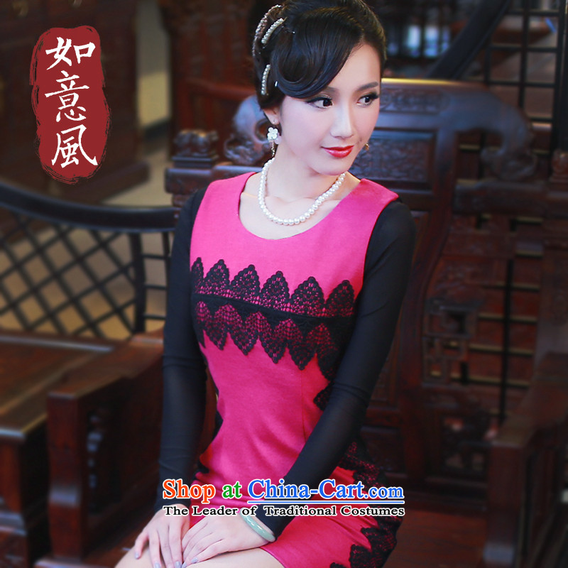After a爊ew 2014 risk autumn and winter original Chinese qipao improved commermorates qipao and skirt with day-to-day 4803 4803 Red燬