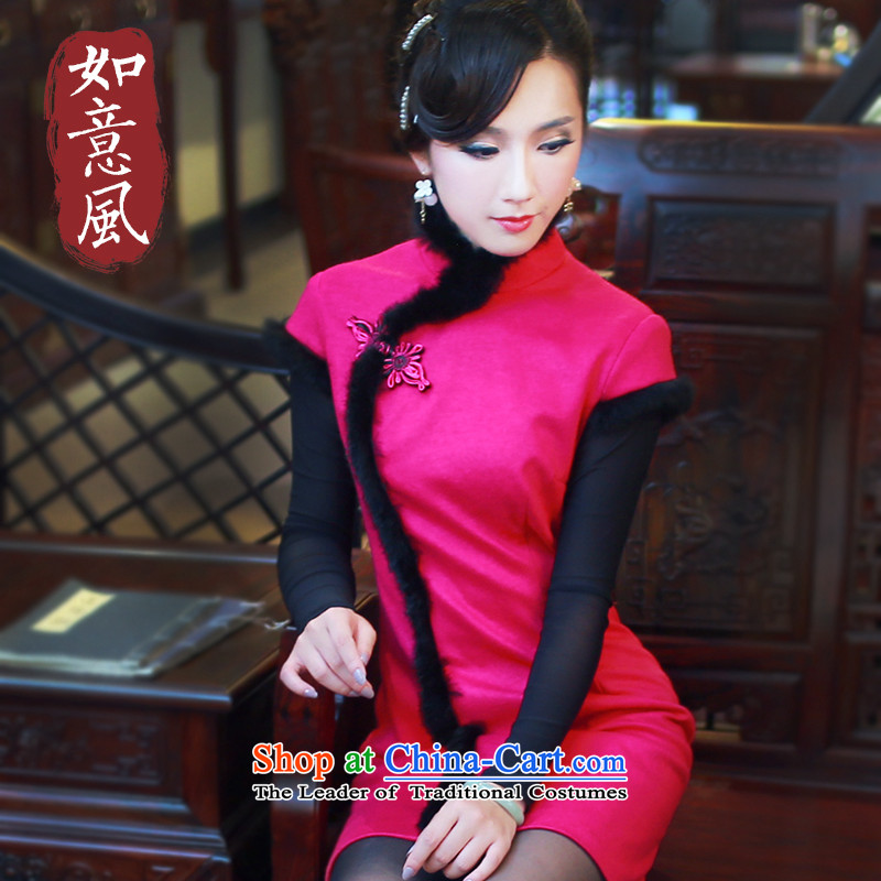 After the new improved daily wind Ms. Qiu manually load cheongsam dress cotton strain clip retro qipao 4819 4819 Red燣
