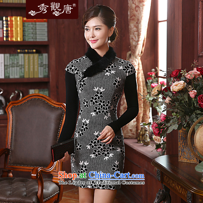 -Sau Kwun Tong- Winter Love Winter Female new rabbit hair clip cotton qipao�14 improved retro look Sau San dresses QD4903 GRAY燬