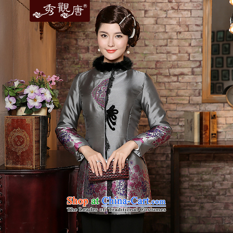 -Sau Kwun Tong- Winter 2014 winter clothing long-sleeved Ying Tang Dynasty Chinese women for cotton gross cotton jacket TC4937 clamp Gray聽L