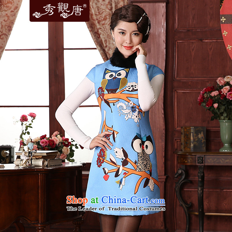 -Sau Kwun Tong- fuser dream for winter 2014 new improved qipao rabbit hair style dress QD4932 2,005燤