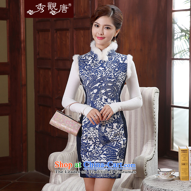 -Sau Kwun Tong- chinaware rabbit hair for retro improved porcelain qipao聽2015 winter clothing new clip cotton QW4911 Blue and White聽XXL