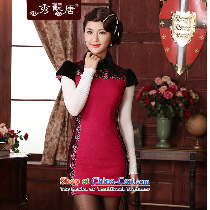 -Sau Kwun Tong- 2014 winter woolen lady cheongsam look?   retro hair collar QD4924 better red燲XL