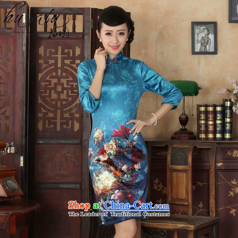 It fall inside the new Tang Women's clothes cheongsam collar Chinese noble Kim scouring pads improved cheongsam dress 7 Cuff figure XL