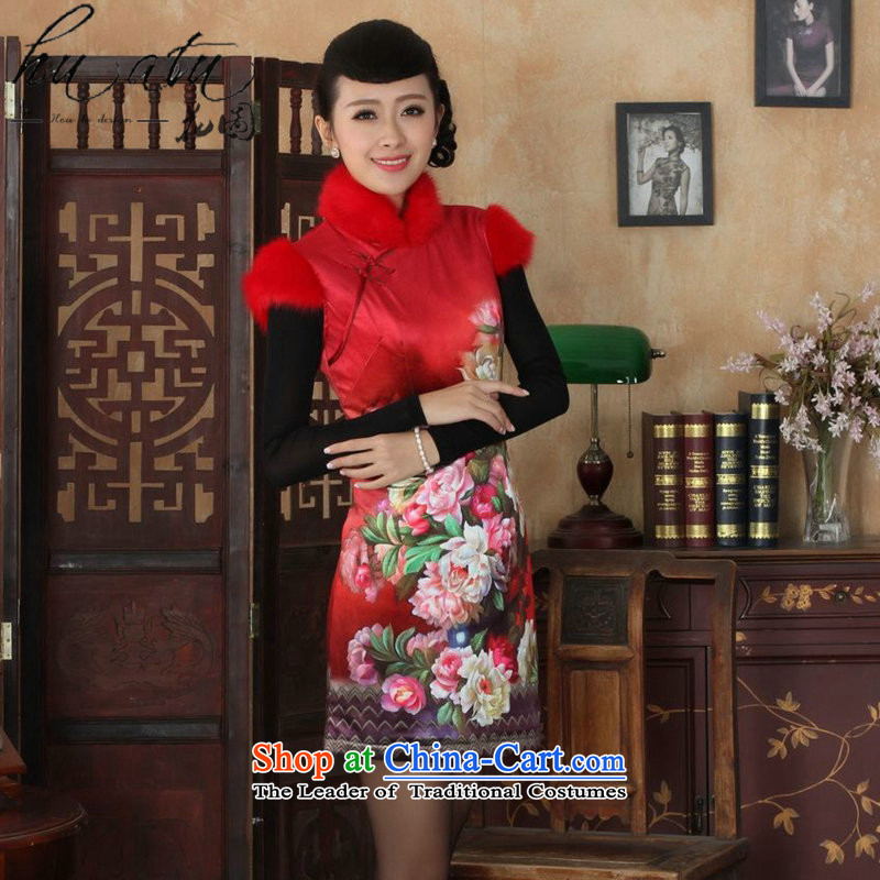 Floral winter clothing new Tang Women's clothes cheongsam collar Chinese classical scouring pads for improved gross cotton short qipao plus Figure�L color