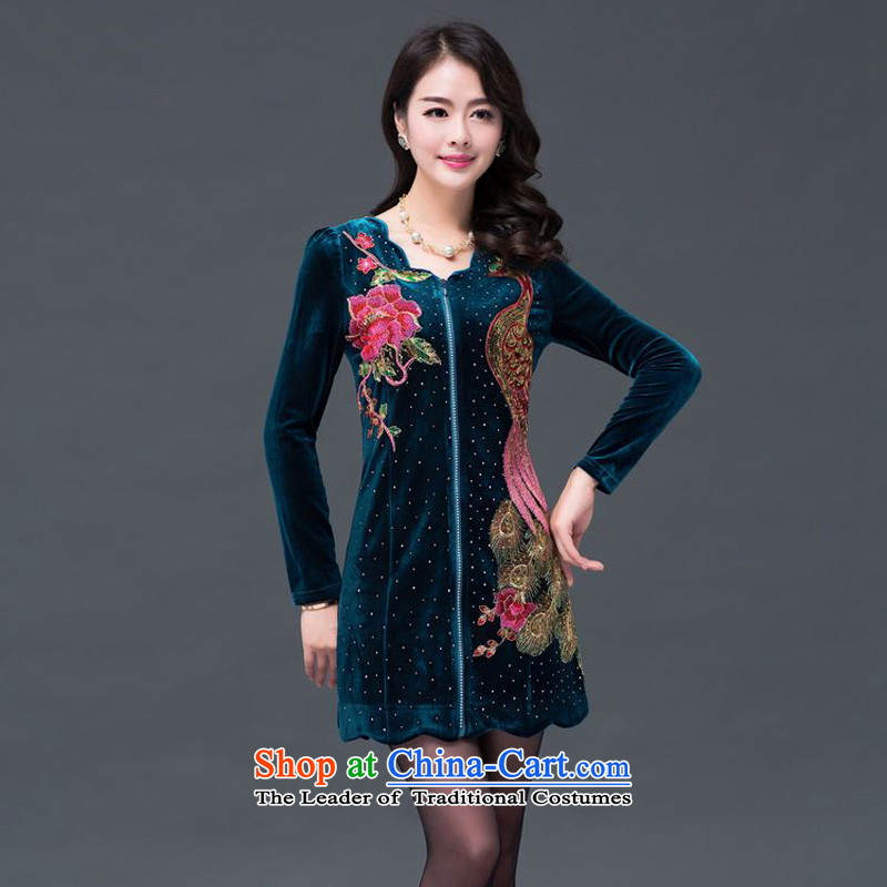 The 2014 autumn and winter-jae new staple pearl embroidery Phoenix retro Kim velvet SSF-1491?XXXL blue