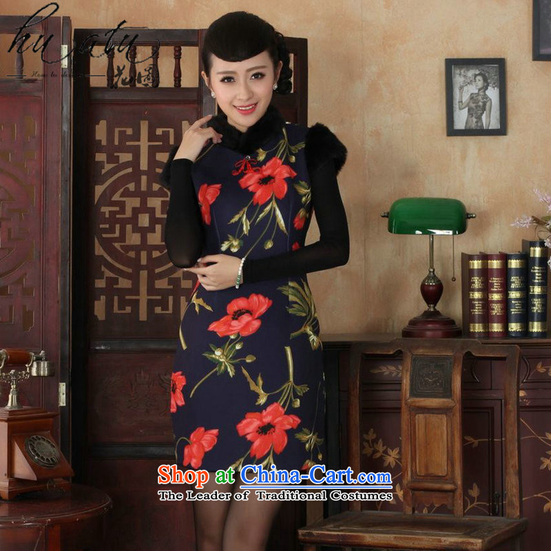 Floral Tang Women's clothes qipao Chinese improved retro collar winter of ethnic tension COTTON SHORT qipao qipao figure燣