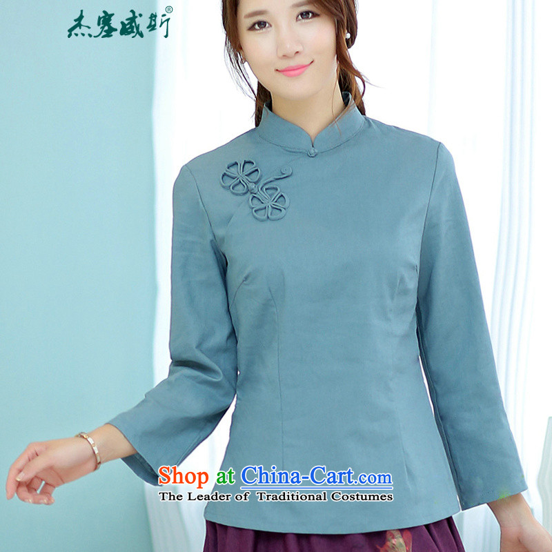 Jie in the spring and summer of women is pressed to Chinese retro improved disk tie long-sleeved shirt linen collar shirt Tang Blue燤
