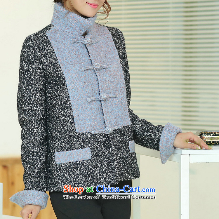 Jie in the autumn and winter female Chinese Disc Gross deduction manually reverse collar spell color? Chinese Tang jackets spell colors shirt?M picture, prices, brand platters! The elections are supplied in the national character of distribution, so action, buy now enjoy more preferential! As soon as possible.