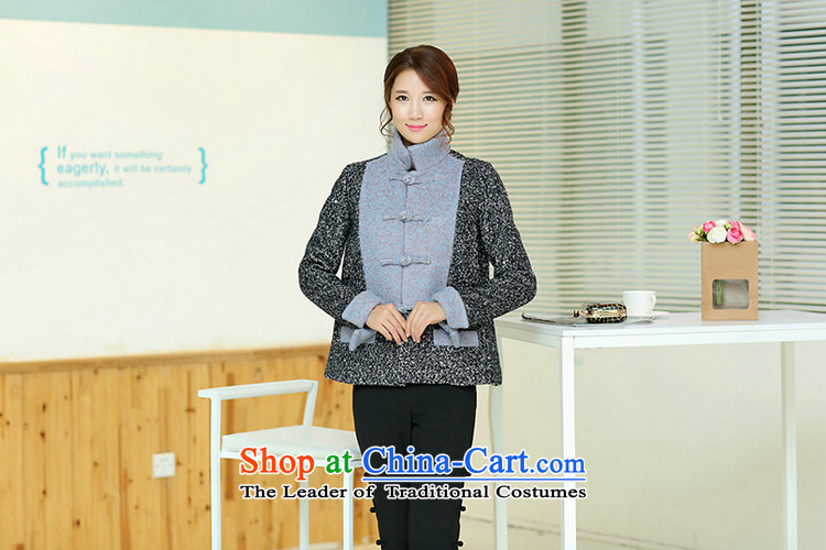 Jie in the autumn and winter female Chinese Disc Gross deduction manually reverse collar spell color? Chinese Tang jackets spell colors shirt? M picture, prices, brand platters! The elections are supplied in the national character of distribution, so action, buy now enjoy more preferential! As soon as possible.