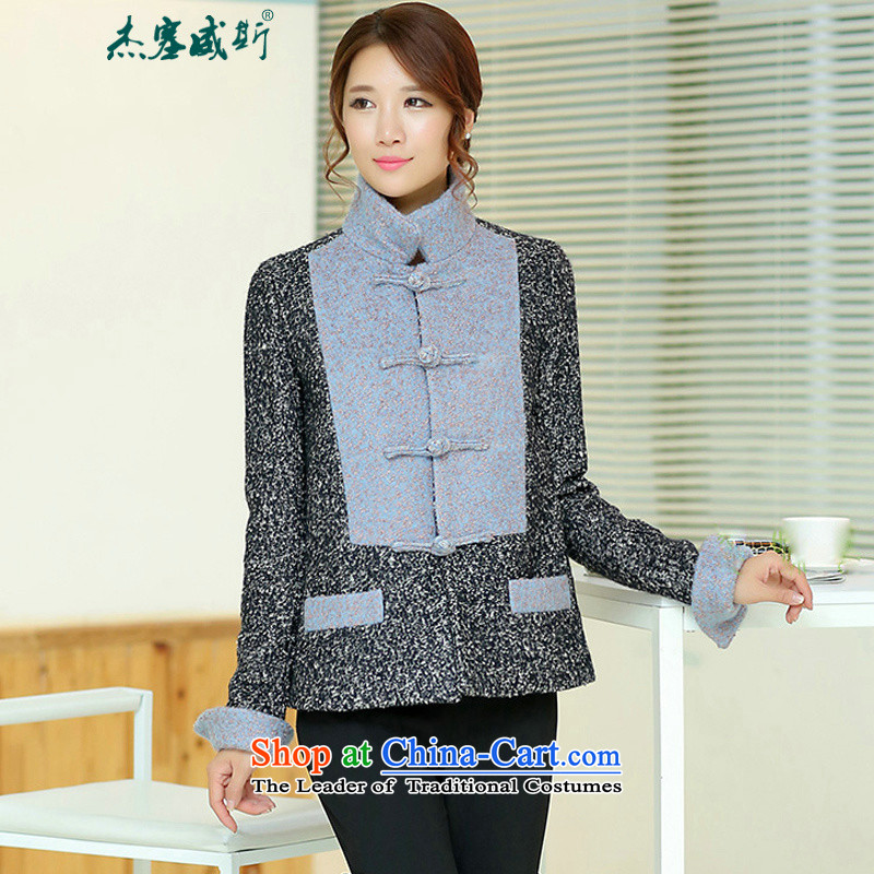 Jie in the autumn and winter female Chinese Disc Gross deduction manually reverse collar spell color? Chinese Tang jackets spell colors shirt?燤