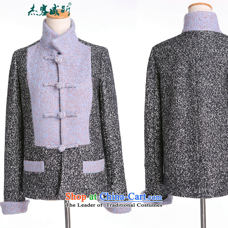 Jie in the autumn and winter female Chinese Disc Gross deduction manually reverse collar spell color? Chinese Tang jackets spell colors? t-shirt, M, Cheng Kejie, the , , , shopping on the Internet