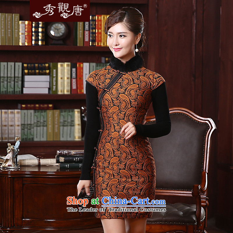 -Sau Kwun Tong- take heart 2015 winter clothing new clip cotton qipao retro improved rabbit hair collar QD4902 ANTHURIAM聽M