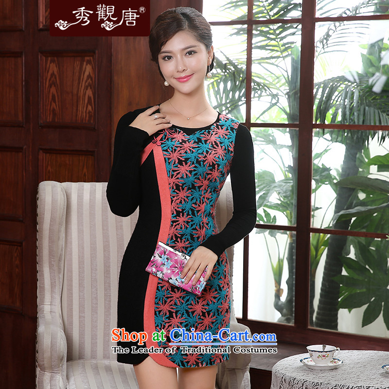 -Sau Kwun Tong- Court following 2015 winter clothing new stylish decorated female presence among the improvements being cheongsam dress suit燲XXL FW4907