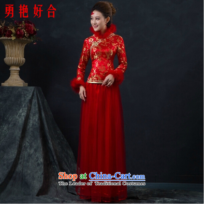 Yong-yeon and 2015 new bride bows service long red qipao gown cheongsam marriage of nostalgia for the autumn and winter long-sleeved red as the size of Qipao not refunded