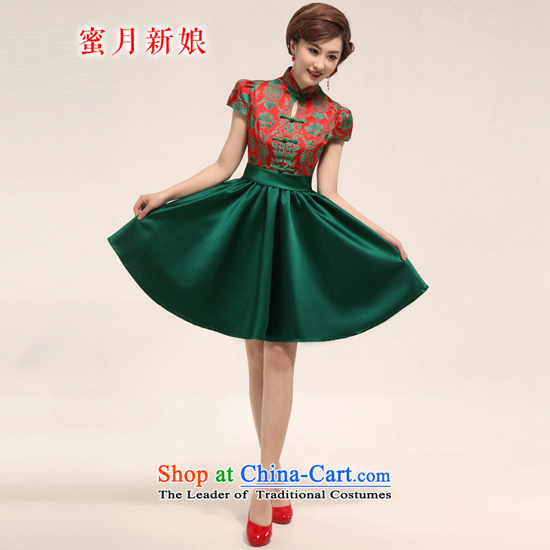 Honeymoon bride 2015 new green short qipao bride improved bows qipao costume bride small Sau San Dress Suit XXL