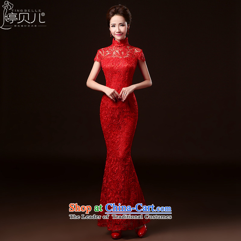 Beverly Ting bows to stylish marriages qipao 2015 new spring and summer long Lace Embroidery to Sau San crowsfoot wedding dresses female red燲L