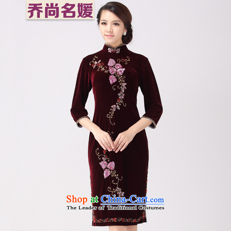 Wedding Banquet dress cheongsam dress Mother Superior nail in the Pearl River Delta long DZ008 BOURDEAUX燣 _2 ft 3 Lumbar_