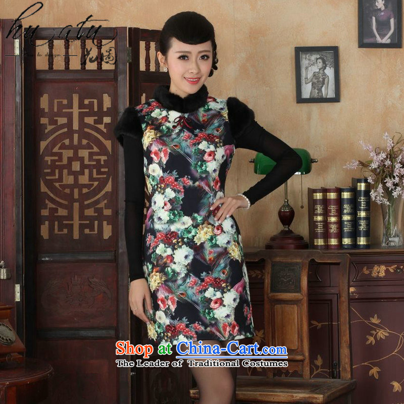 Floral winter clothing new Tang Dynasty Chinese cheongsam dress improved flexibility retro collar COTTON SHORT qipao winter�L
