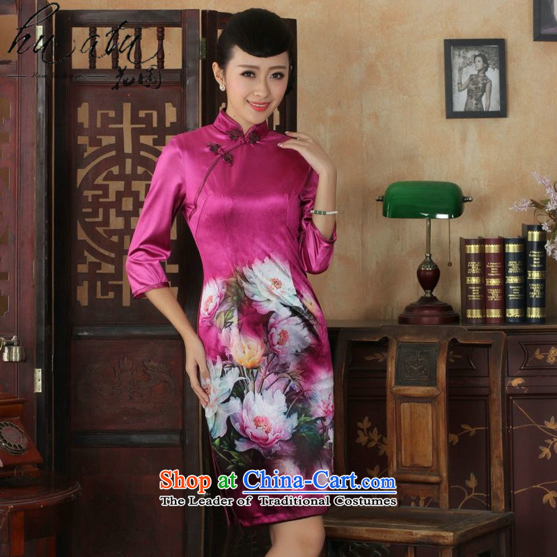 It fall inside the new Tang Women's clothes cheongsam collar Chinese hand painted ethnic Kim scouring pads qipao skirt seven Sau San cuff聽5 M