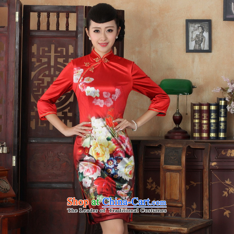 ? C.O.D.�qipao autumn 2015 installed as soon as possible, the high elastic lint-free disk-improvement of artisanal 7 cuff dress cheongsam dress TD0033 Red 2XL