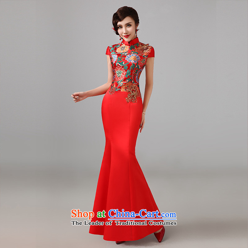 2015 new red short-sleeved qipao gown Chinese marriages bows service long retro improved qipao L