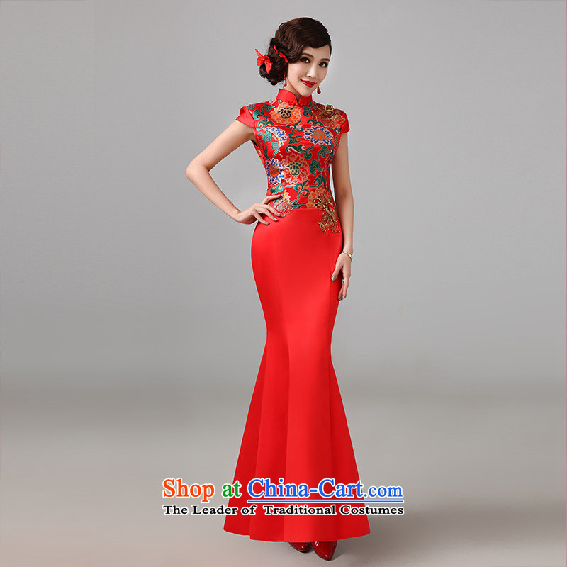 2015 new red short-sleeved qipao gown Chinese marriages bows long service improvement in L, qipao retro Lin Sha , , , shopping on the Internet