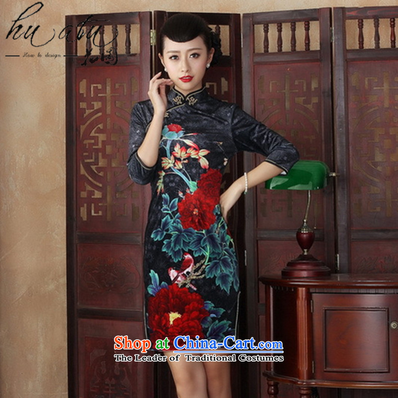 Floral collar Chinese qipao gown improved retro scouring pads in the autumn of Kim cuff with stylish Sau San cheongsam dress figure燤
