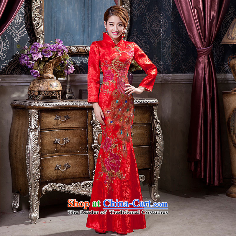 2015 new bride qipao folder cotton Tang Dynasty Chinese wedding dresses welcome the ribbon bows ceremonial dress�L