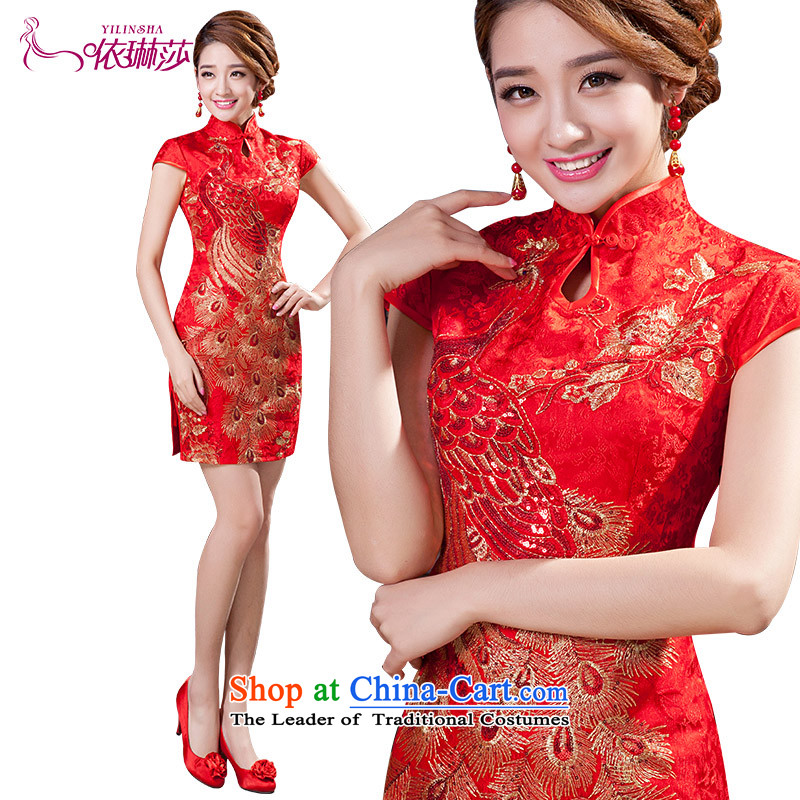 2015 New Chinese short of qipao improved Sau San marriages dress bows services qipao M